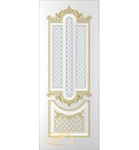 фото: Дверь Джаз, тон белый, патина золото (акрил), стекло матовое рис.1