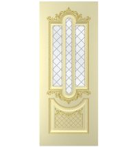 фото: Дверь Джаз, тон бежевый, патина золото (акрил), стекло сатинат гравировка рис.1