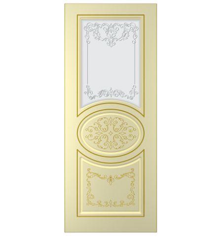 фото: Дверь Вальс, тон бежевый, патина золото (акрил), стекло матовое рис.1