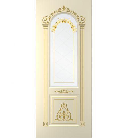 фото: Дверь Бухара, тон Крем, патина золото G, стеклосатинат фотопечать рис.1 (акрил)