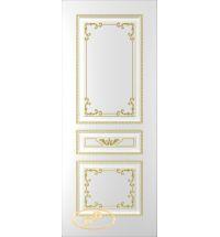 фото: Дверь Блюз, тон белый, патина золото (акрил)