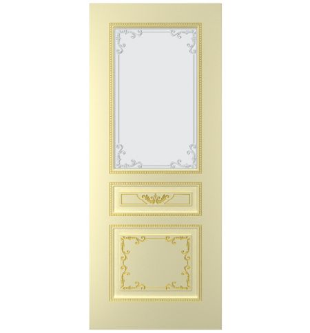 фото: Дверь Блюз, тон бежевый, патина золото (акрил), стекло матовое рис.1