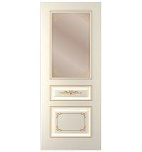фото: Дверь Блюз-1, тон Ваниль патина золото (акрил), стекло сатинат бронза наплыв золотой рис.1