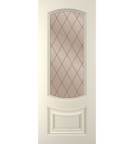 фото: Дверь Бергамо, тон Ваниль, стекло сатинат бронза рис.Решетка, гравировка