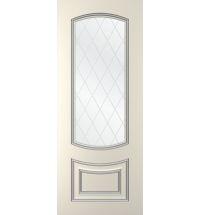 фото: Дверь Бергамо, тон Ваниль патина серебро (акрил), стекло сатинат наплыв прозрачный рис.Решетка