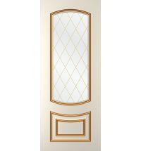 фото: Дверь Бергамо, тон Ваниль патина золото (акрил), стекло сатинат наплыв золотой рис.Решетка