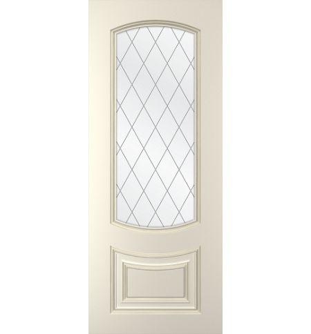 фото: Дверь Бергамо, тон Белый, стекло сатинат рис.Решетка, гравировка