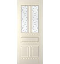 фото: Дверь Альберо, тон Ваниль, стекло сатинат рис.Решетка, гравировка (верх 2 окна)