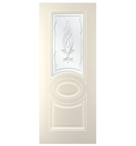 фото: Дверь Адель, тон Ваниль, стекло сатинат гравировка рис.1