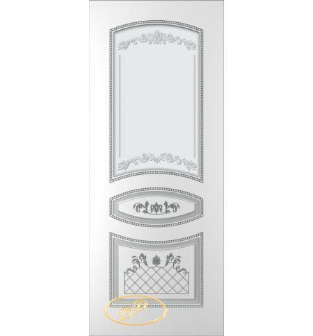 фото: Дверь Танго, тон белый, патина серебро (акрил), стекло матовое рис.1