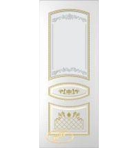 фото: Дверь Танго, тон белый, патина золото (акрил), стекло матовое рис.1