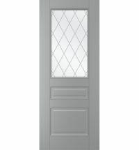 фото: Дверь Санта, тон Серый, стекло сатинат гравировка рис. Решетка