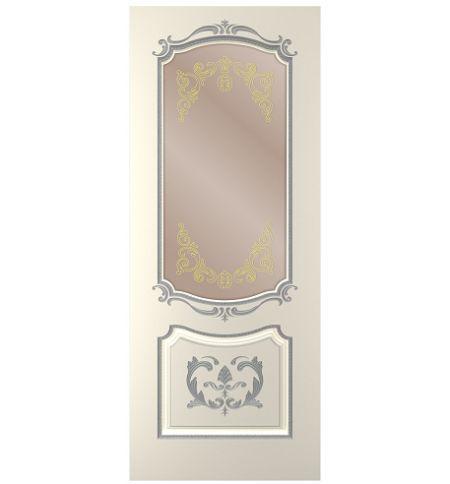 фото: Дверь Сакура, тон Ваниль, патина серебро (акрил), стекло сатинат бронза наплыв золотой рис. 1