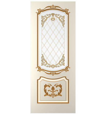 фото: Дверь Сакура, тон Ваниль, патина золото-R (акрил), стекло сатинат фотопечать рис. 1
