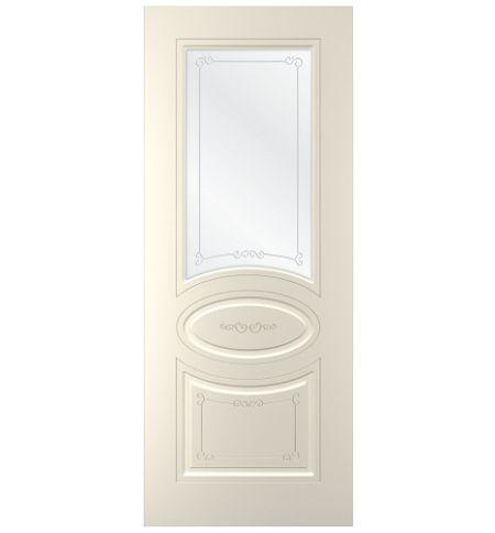 фото: Дверь Прима, тон Ваниль, стекло сатинат наплыв прозрачный рис.1