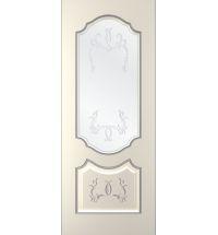 фото: Дверь Премиум-1, тон Ваниль патина серебро (акрил), стекло сатинат наплыв прозрачный рис.1