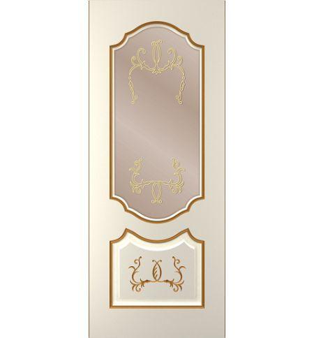 фото: Дверь Премиум-1, тон Ваниль патина золото (акрил), стекло сатинат бронза наплыв золотой рис.1