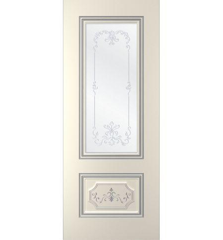 фото: Дверь Порта, тон Ваниль патина серебро (акрил), стекло сатинат наплыв прозрачный рис.1