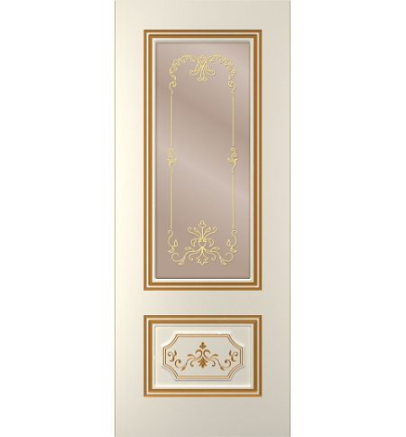 фото: Дверь Порта, тон Ваниль патина золото (акрил), стекло сатинат бронза наплыв золотой рис.1