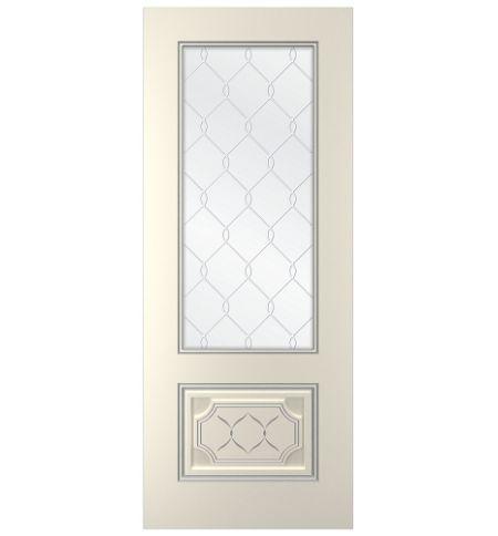 фото: Дверь Парма, тон Ваниль патина серебро (акрил), стекло сатинат наплыв прозрачный рис.1