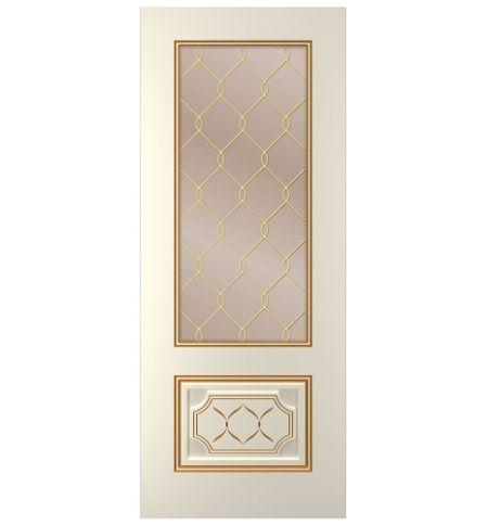 фото: Дверь Парма, тон Ваниль патина золото (акрил), стекло сатинат бронза наплыв золотой рис.1
