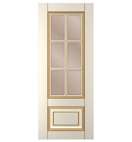 фото: Дверь Паола, тон Ваниль патина золото (акрил), стекло сатинат бронза