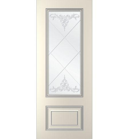фото: Дверь Паллада, тон Ваниль патина серебро (акрил), стекло сатинат наплыв прозрачный рис.3