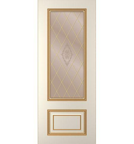 фото: Дверь Паллада, тон Ваниль патина золото (акрил), стекло сатинат бронза наплыв золотой рис.1