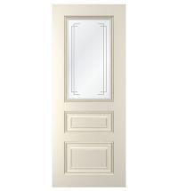 фото: Дверь Неаполь, тон Ваниль, стекло сатинат рис.2, гравировка