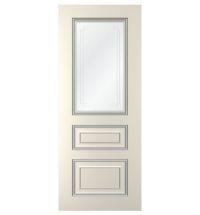 фото: Дверь Неаполь, тон Ваниль патина серебро (акрил), стекло сатинат наплыв прозрачный рис.2