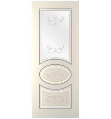 фото: Дверь Мадрид, тон Ваниль патина серебро (акрил), стекло сатинат наплыв прозрачный рис.1