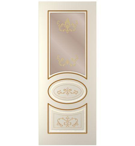 фото: Дверь Мадрид, тон Ваниль патина золото (акрил), стекло сатинат бронза наплыв золотой рис.1