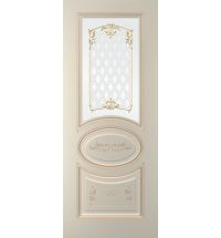 фото: Дверь Изабелла-1, тон Авангард, патина золото-R17, стекло сатинат фотопечать рис. 1
