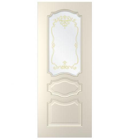 фото: Дверь Жасмин-3, тон Ваниль, стекло сатинат наплыв золотой рис. 1