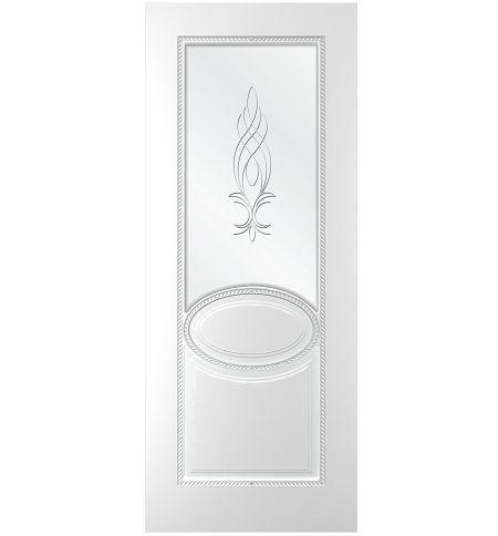 фото: Дверь Эстет, тон белый, стекло сатинат рис.1, гравировка