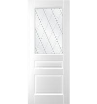 фото: Дверь Ника, тон белый, стекло сатинат рис.Решетка, гравировка