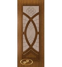 фото: Дверь Камелия, шпон орех, пазы корич., стекло матовое бронза рис.Камелия