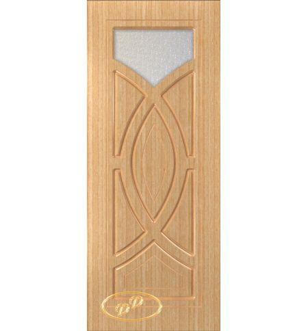 фото: Дверь Камелия, шпон дуб, пазы бесцвет.лак, стекло диамант