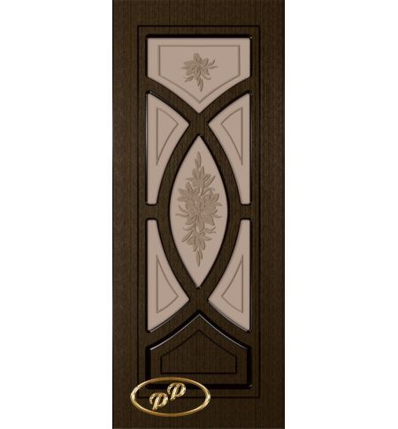 фото: Дверь Камелия, шпон венге, пазы черные, стекло матовое бронза рис.Букет
