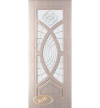 фото: Дверь Камелия, шпон белёный дуб, пазы бежевые, стекло матовое рис.Камелия