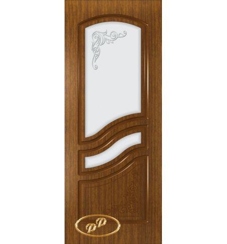 фото: Дверь Ирен, шпон орех, пазы орех, стекло матовое рис.Ирен