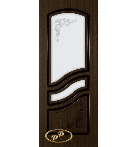 фото: Дверь Ирен, шпон венге, пазы черные, стекло матовое рис.Ирен