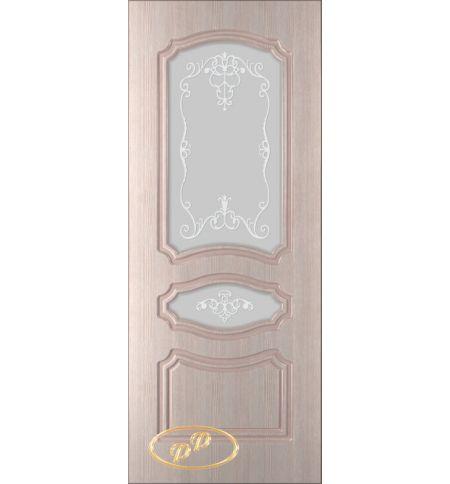 фото: Дверь Жасмин, шпон беленый дуб, пазы бежевые, стекло матовое рис.Жасмин