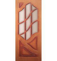 фото: Дверь Волна, шпон дуб тон карелия, пазы тон карелия, стекло матовое без рис.