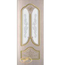 фото: Дверь Афина, шпон белёный дуб, пазы золото, стекло матовое рис.Афина