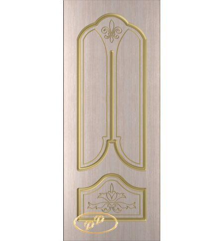 фото: Дверь Афина, шпон белёный дуб, пазы золото