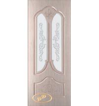 фото: Дверь Афина, шпон белёный дуб, пазы бежевые, стекло матовое рис.Афина