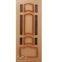 фото: Дверь Ампир, шпон дуб, пазы коричневые, стекло дельта бронза