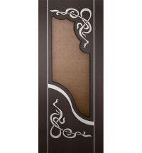 фото: Дверь Азалия, шпон венге/беленый дуб с инкрустацией, стекло дельта бронза