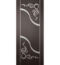 фото: Дверь Азалия, шпон венге/беленый дуб с инкрустацией